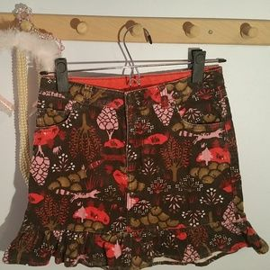 Lands End Size 10 Brown Red Forest Corduroy Skirt